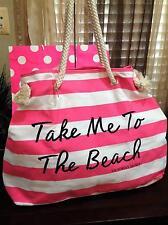 NWT Victorias Secret Take Me To The Beach Pink White Striped Tote Bag Beach etc