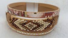 BOHO BRACELET multilayered leather style seed bead bohemian magnetic beige USA*
