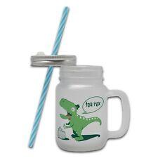 Tea Rex Funny Dinosaur Novelty Glass Mason Jar Mug w/ Straw