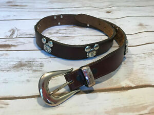 Brighton Vtg 90's Walt Disney Mickey Mouse & Co Leather Belt Size 26 Solid Brass