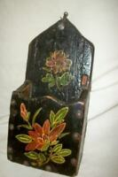 ANTIQUE HP TOLE FLOWERS WOOD MATCH CANDLE BOX STRIKER FRENCH FARMHOUSE RUSTIC