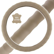 """Genuine Leather Steering Wheel Cover for Car SUV Truck Small 13.5""""-14.5"""" Beige"""
