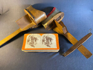 LOT OF 2 ANTIQUE STEREOSCOPEs & 30 Cards-Gold Rush,Galveston Destruction,People