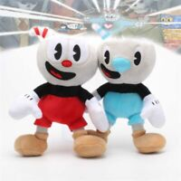 2PCS 10'' Cuphead Mugman Mecup & Brocup Stuffed Plush Doll Kid Birthday Gift Toy