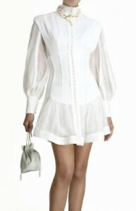 Brand New Zimmermann Glassy Long Sleeve Mini Dress Size 0 Ivory