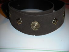 Vintage Wide Brown Suede Leather Belt with Metal Trim & Adjustable back hook XXL