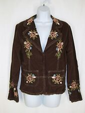 Juniors Brown Corduroy Blazer Jacket L Floral Stitched Design
