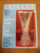 19/10/1977 Ipswich Town v Las Palmas [UEFA Cup] (writing on back). Footy Progs/B