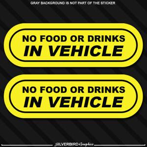 2x No Food Drink Warning Sticker Vinyl Decal JDM Car Decal Vehicle