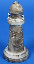 Handmade Carved Wooden Lighthouse Shabby Chic Ornament 20cm