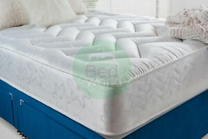 "10"" DEEP QUILTED ORTHOPEDIC SPRUNG MATTRESS 3FT 4FT 4FT6 DOUBLE 5FT KING UK"