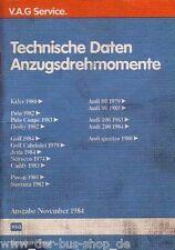 VW & Audi - Reparaturleitfaden -  Technische Daten & Anzugsdrehmomente 11/84