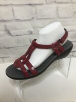 Clarks Collection Sonar Aster Patent T-Strap Sandals Women's Sz 10 M Comfort Red
