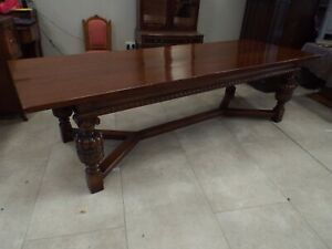 Good Quality Large Antique Solid Oak Refectory Dining Table 114'' 9.5ft