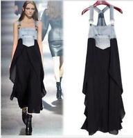 Womens Sleeveless Dress Overalls Skirt Korean Long Denim Outwear Long Dress