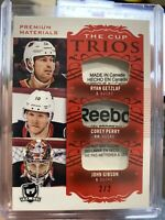 2018-19 UD THE CUP TRIOS GETZLAF PERRY GIBSON 2/2 RED LAUNDRY TAG GAME USED SSP
