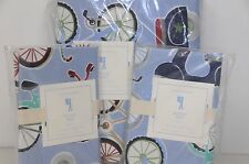 NEW Pottery Barn Kids BOY BICYCLE Bike Blue Red Full Queen Duvet Shams 3pcs SET