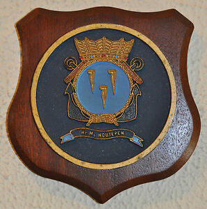 Hr Ms Houtepen plaque shield crest Royal Dutch Navy naval minesweeper
