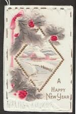 c.1910 hand painted bas relief booklet Happy New Year greeting card germany