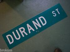 "Vintage ORIGINAL DURAND ST STREET SIGN 36"" X 9"" WHITE LETTERING ON GREEN"