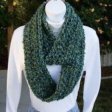 SCARF INFINITY LOOP Blue & Green, Soft SMALL Skinny Handmade Crochet Knit Cowl
