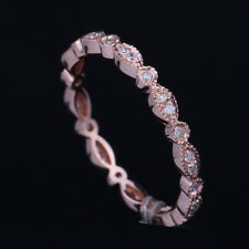 Antique Art Deco Natural Diamonds 10K Rose Gold Eternity Band Engagement Ring
