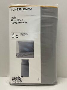 Ikea KUNGSBLOMMA Twin Duvet cover and pillowcase gray/yellow - NEW