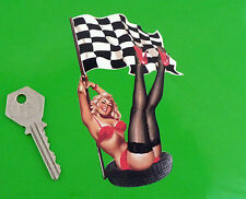 "Pin-Up Girl Chequered Flag & Tyre STICKER 5"" Race Racing Car Bike Retro Truck"