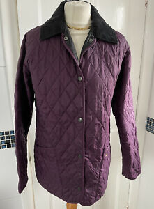Ladies Barbour Shaped Liddesdale Quilted Padded Jacket Purple UK 12