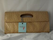 Beige Ostritch Effect Leather Clutch by Hobo NEW