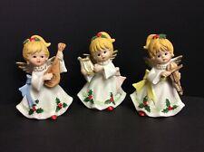 Vintage Set of 3 Homco Christmas Angels , Porcelain Figurines 5551