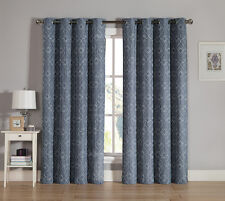 Slate Gray Grommet Window Curtain Panel Two Piece Set: Embroidered Design