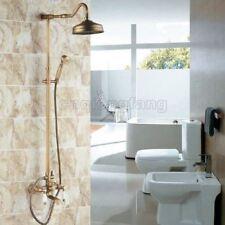 "Antique Brass Wall Mount 8"" Rain Shower Faucet Tub Mixer Tap Hand Shower Crs115"