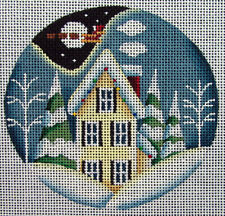 HP Needlepoint 18ct REBECCA WOOD Christmas Ornament: Snowy Winter Cottage -SG12