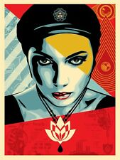 Obey Oil Lotus Woman Silk Screen Print by Shepard Fairey Signed Numbered Ed 450