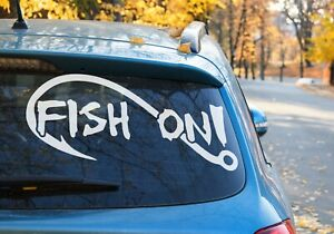 Fishing Fish On Hook Vinyl decal Sticker Car Window laptop tackle box OZ 9 COLOR