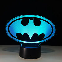 Batman 3D Lamp Kid Bedroom LED Touch Switch Table Desk Night Light Xmas Gift