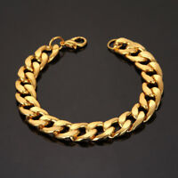 Fashion Unisex's Gold Tone Stainless Steel Chain Cuff Bangle Bracelet Wristband