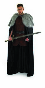 Mens  Viking Warrior Long Cape One Size Medieval Knight Lord Fancy Dress Costume