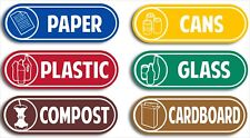 6pk recycling 185mm wide Signs Sticker card paper glass plastic cans compost