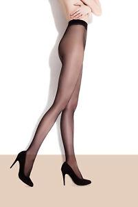 Collant voile transparent sans démarcation femme noir naturel FIORE ADA 15 DEN