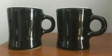 Set of 2 Vtg 1940s 1950s HALL Black & White Restaurant Ware Diner Mugs C Handle