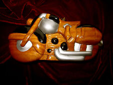 AUTHENTIC TIMMY WOODS HAND CARVED WOOD MOTORCYCLE CLUTCH MINAUDIERE SHOULDER BG