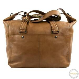 Bottega Veneta Tawny Brown Nappa Leather Italy Multi-Pkt Top Stitch Duffle Bag