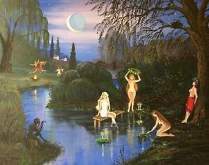 11X14 PRINT OF PAINTING IVANA KUPALA WITCH EROTIC Ukraine Halloween Landscape