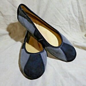 🩰 Strictly Comfort Ballet Flats sz 9 M Grey Suede Leather; Black Accents