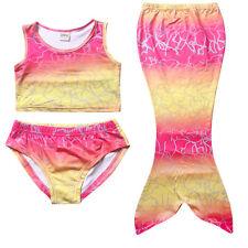 niña infantil Cola De Sirena Nadar teñida bikini traje de baño Cosplay Ariel