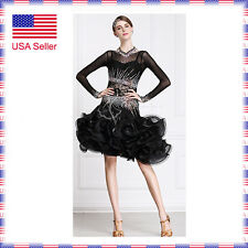 L340 Medium US4-6 Latin Rhythm Salsa Show Case Competition Dance Dress Costume