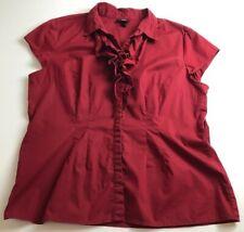 Mossimo Women's Short Sleeve Button Up Shirt XXL 2XL Plus Red Ruffle Neck Work