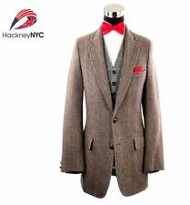 Harris Tweed Men's Scottish Gray Mix Wool Herringbone Custom Sport Coat Sz 39 R